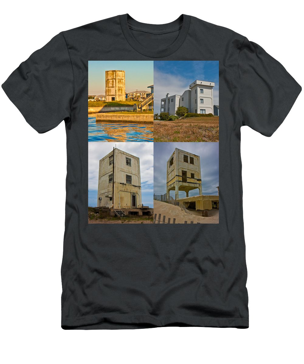 Topsail Men's T-Shirt (Athletic Fit) featuring the photograph Military Observation Towers Operation Bumblebee by Betsy Knapp