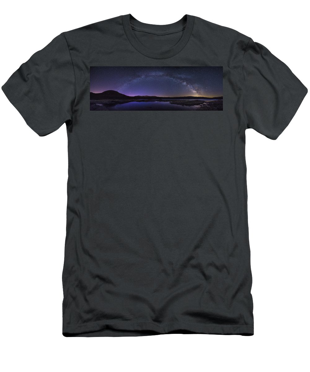 Milky Men's T-Shirt (Athletic Fit) featuring the photograph Milky Way Over Lonesome Lake Panorama by Chris Whiton