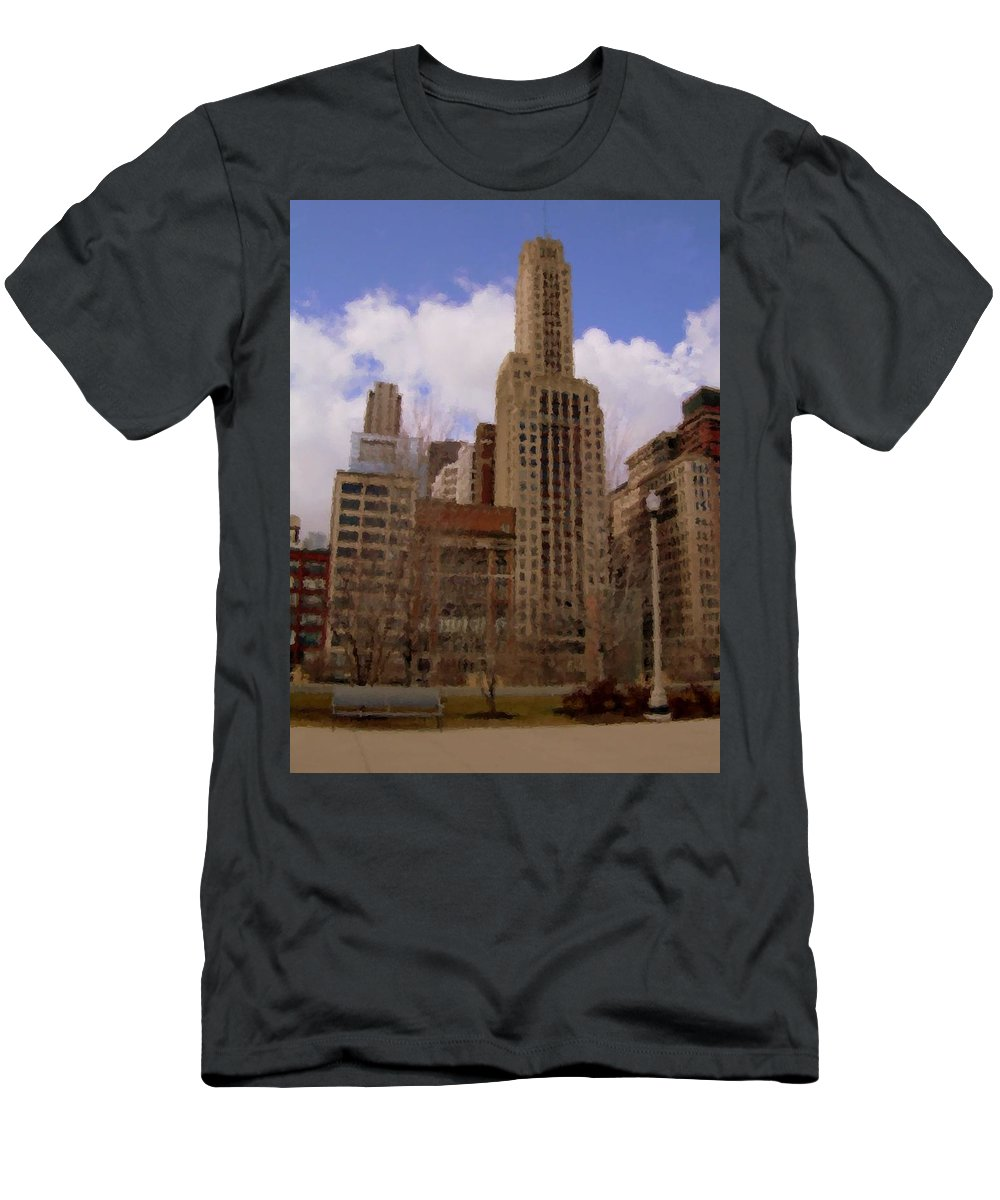 Chicago Men's T-Shirt (Athletic Fit) featuring the digital art Millenium Park And Bench 1 by Anita Burgermeister