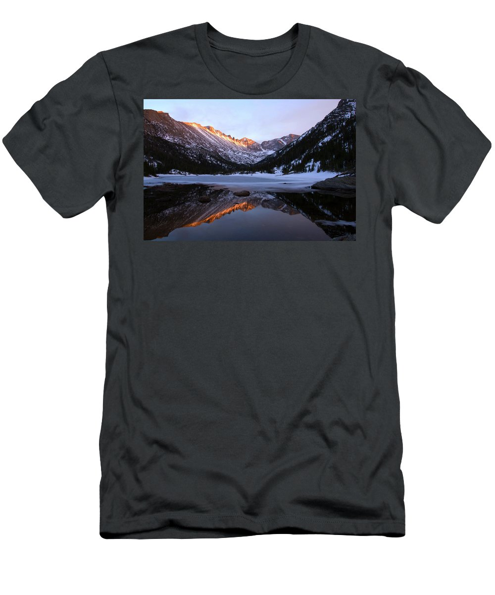 Spring Men's T-Shirt (Athletic Fit) featuring the photograph Spring Sunset At Mill's Lake In Rocky Mountain National Park, Colorado, Usa by Stephanie Gilronan