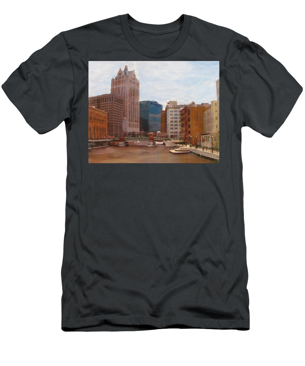 Milwaukee Men's T-Shirt (Athletic Fit) featuring the mixed media Milwaukee River View by Anita Burgermeister