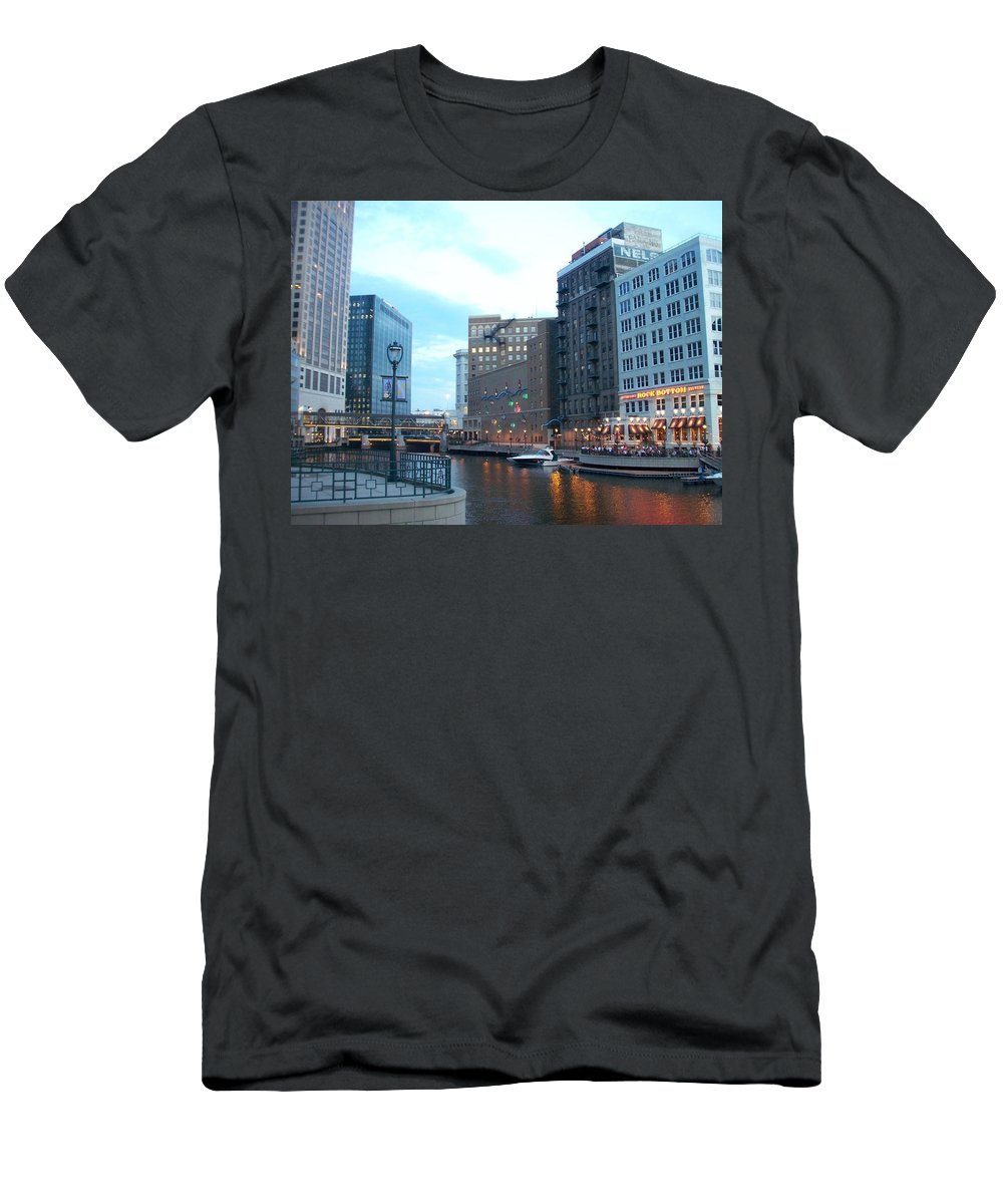 Milwaukee Men's T-Shirt (Athletic Fit) featuring the photograph Milwaukee River Walk by Anita Burgermeister