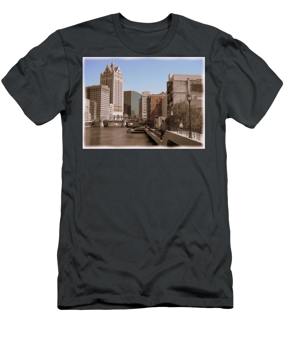 River Men's T-Shirt (Athletic Fit) featuring the digital art Milwaukee Riverwalk by Anita Burgermeister