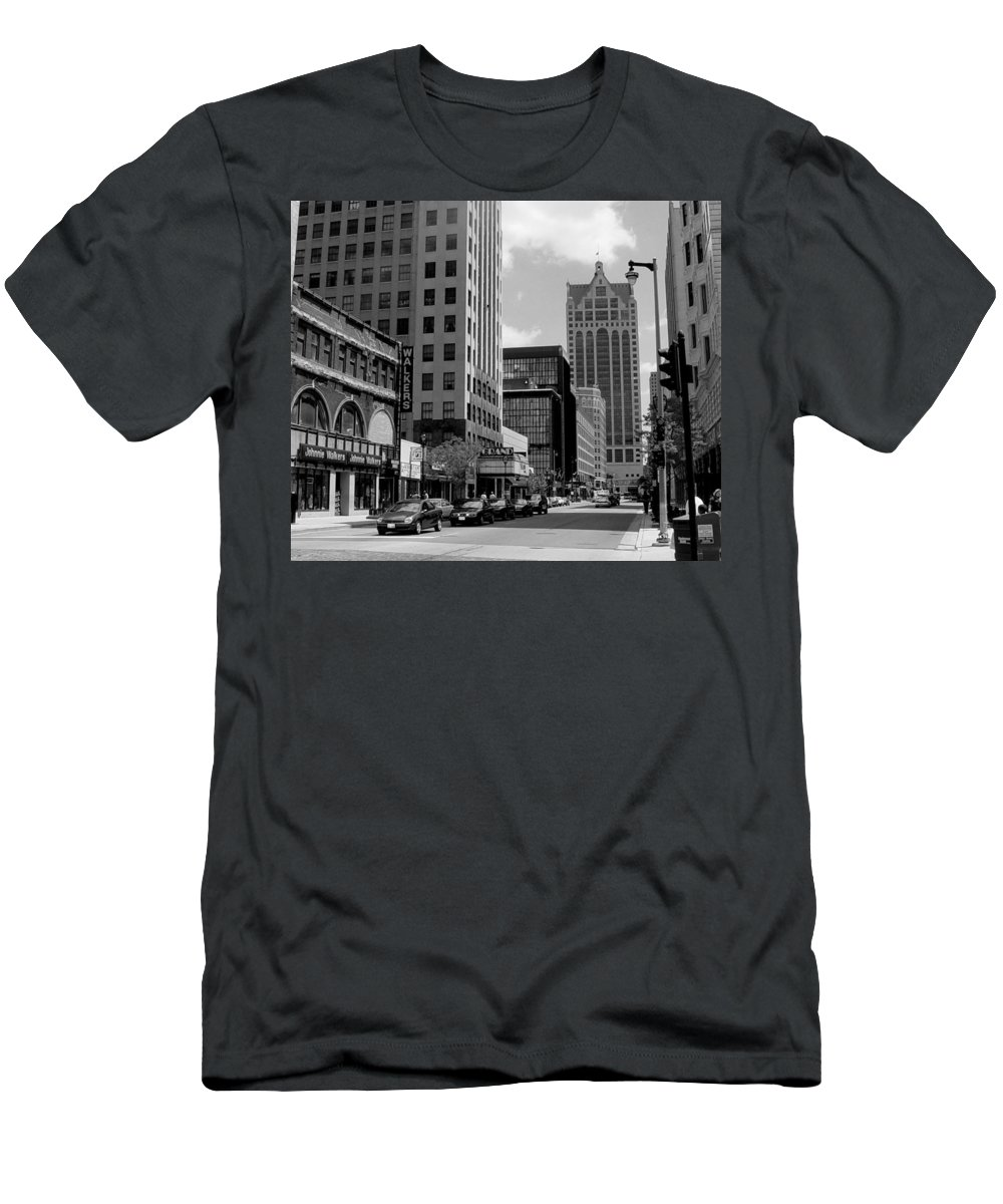 Milwaukee Men's T-Shirt (Athletic Fit) featuring the photograph Milwaukee Street Scene B-w by Anita Burgermeister
