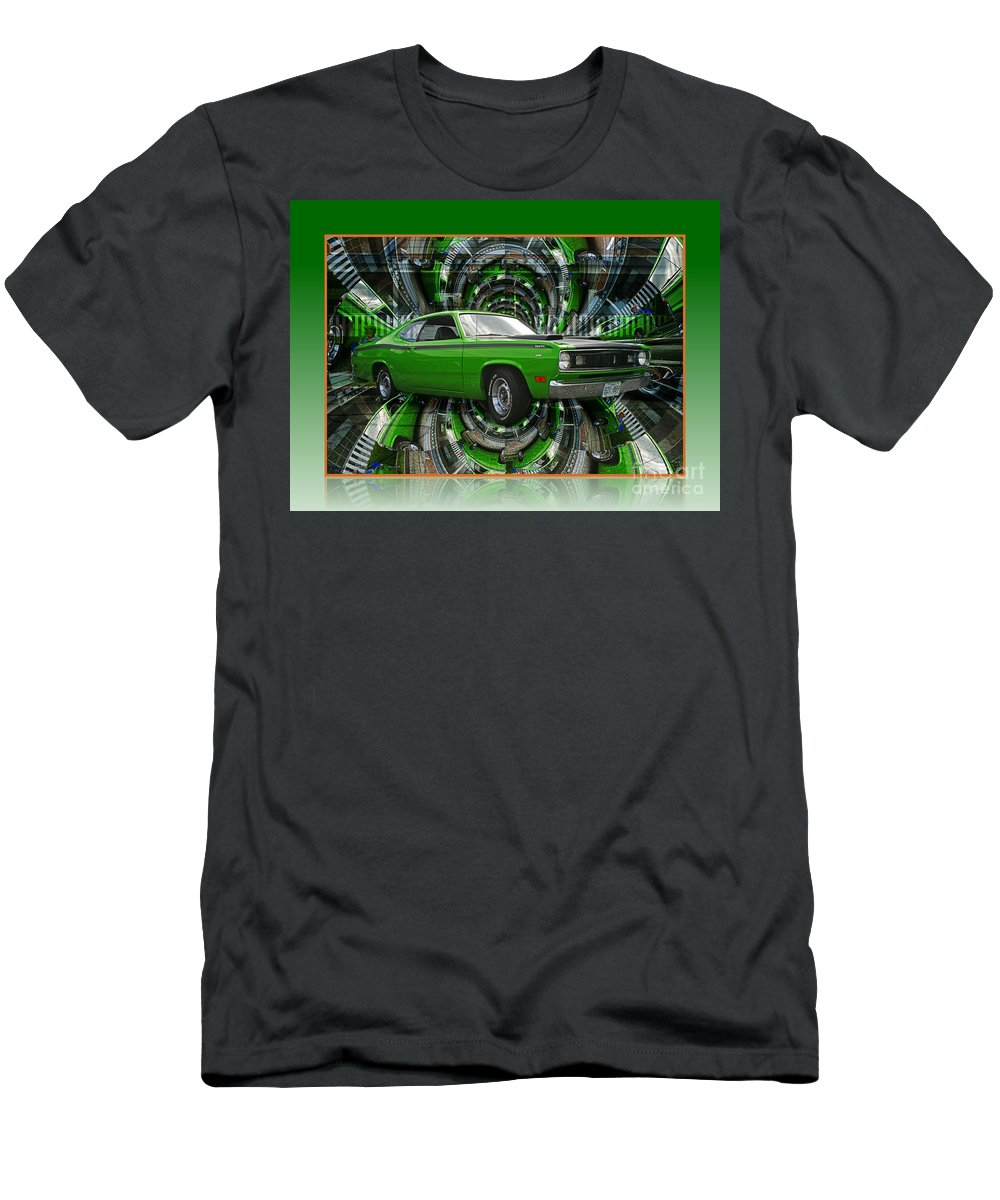 Old Cars Men's T-Shirt (Athletic Fit) featuring the photograph Mind Blown Duster Abstract by Randy Harris