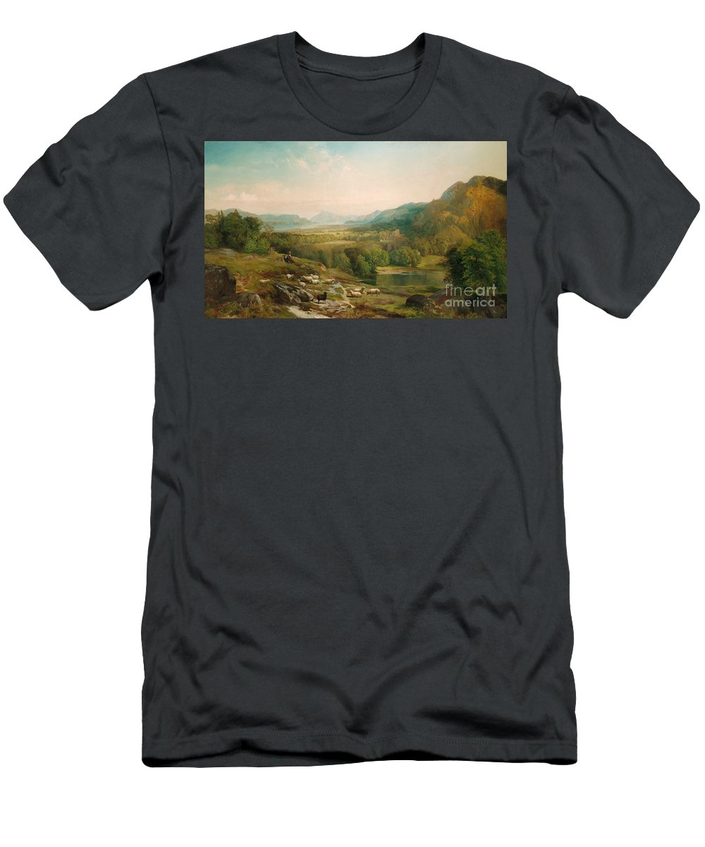 Thomas Moran Men's T-Shirt (Athletic Fit) featuring the painting Minding The Flock by Thomas Moran