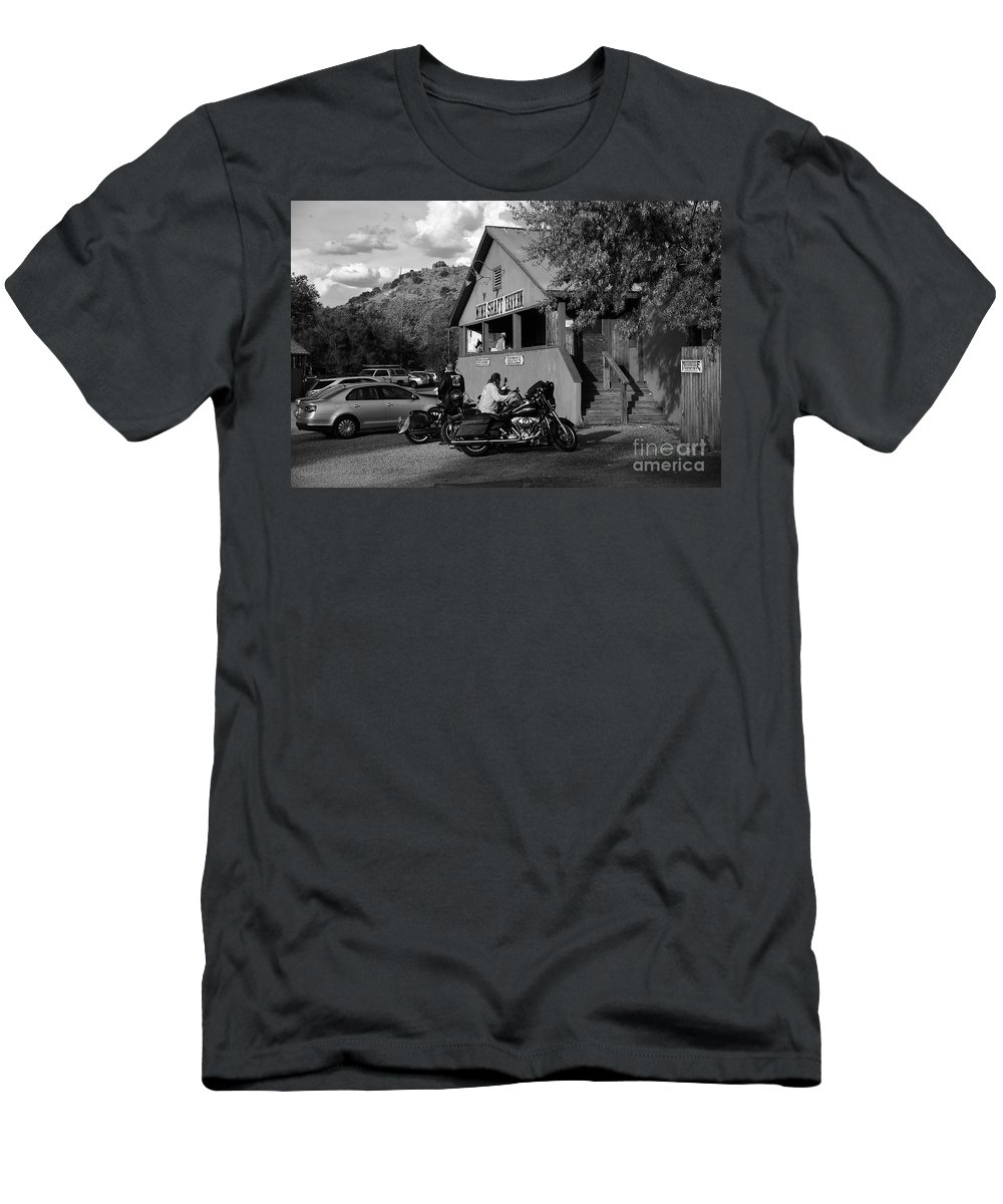 Bikers Men's T-Shirt (Athletic Fit) featuring the photograph Mine Shaft Bikers by Madeline Ellis