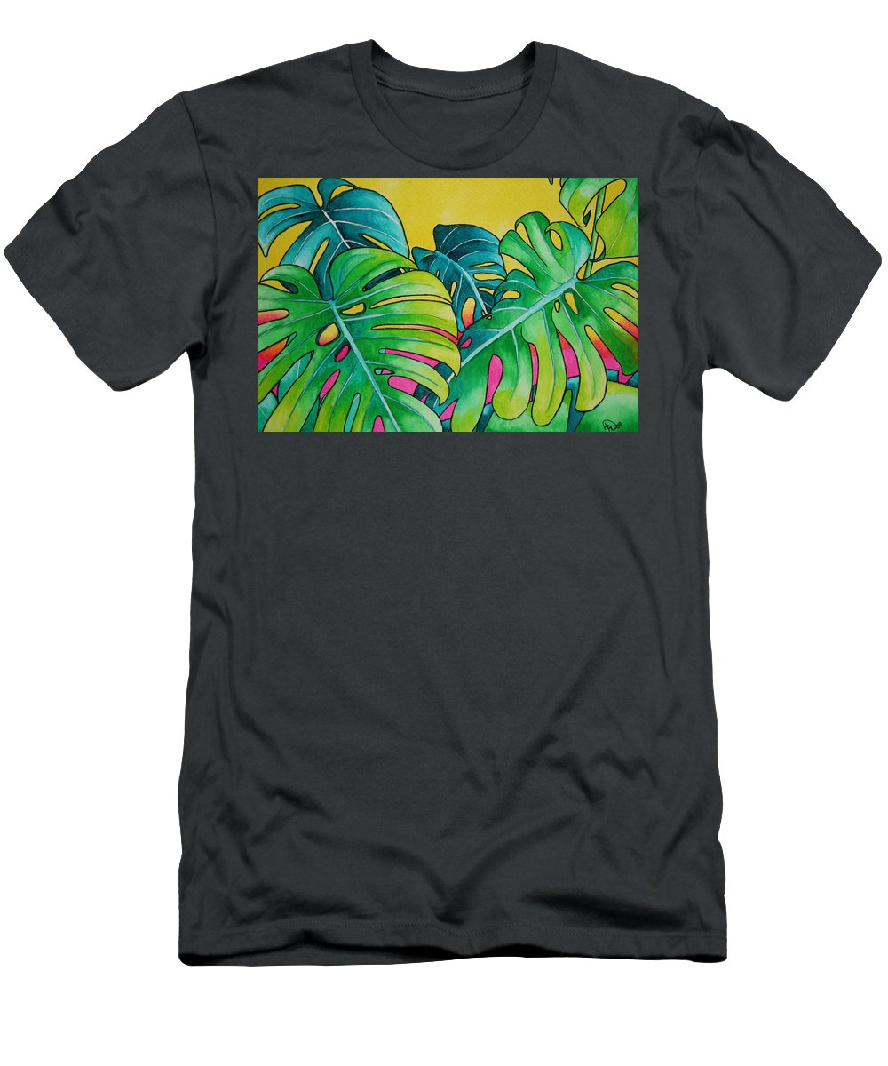 Tropical Plants. Foliage Men's T-Shirt (Athletic Fit) featuring the painting Mini Tropicals 3 by Helen Weston