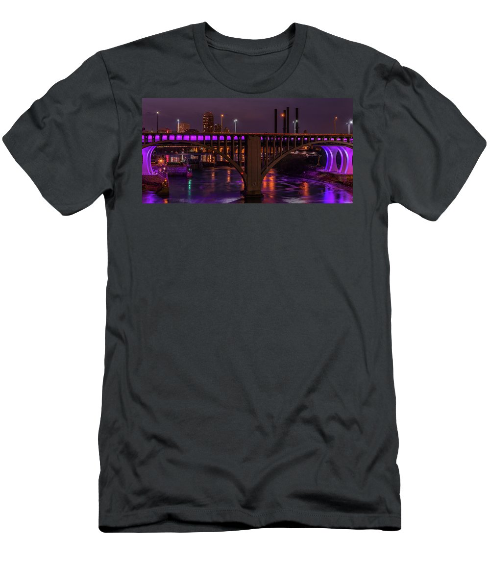 I-35 Men's T-Shirt (Athletic Fit) featuring the photograph Minneapolis In Purple 4 - Wide Crop by Bill Pohlmann