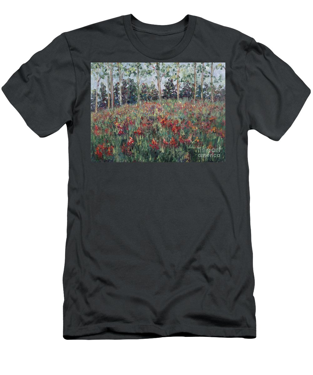 Landscape Men's T-Shirt (Athletic Fit) featuring the painting Minnesota Wildflowers by Nadine Rippelmeyer