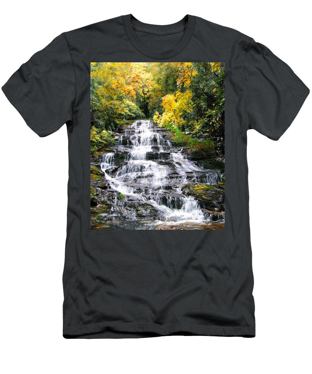 Boulder Men's T-Shirt (Athletic Fit) featuring the digital art Minnihaha Falls In Autumn by Francesa Miller