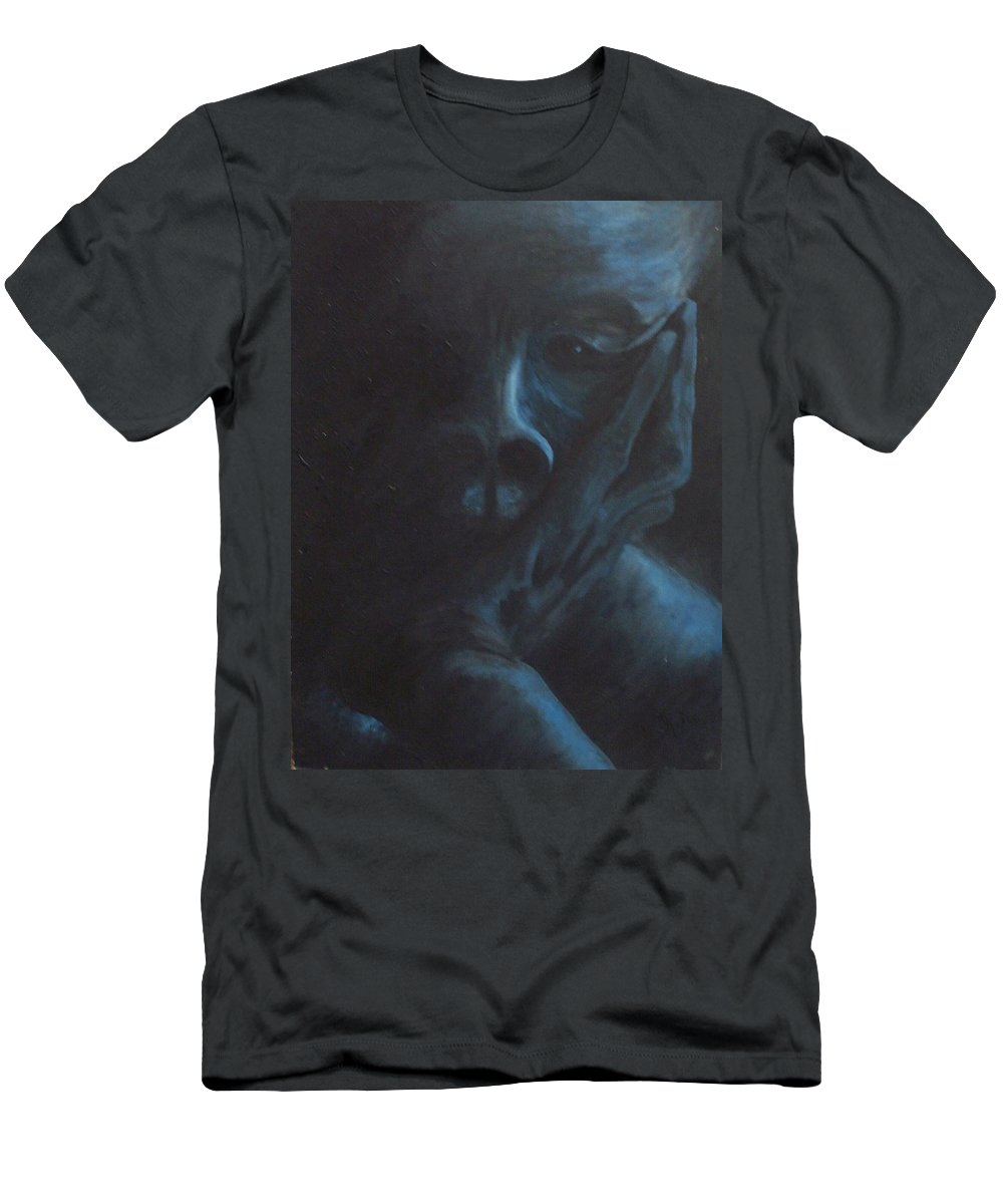 Sad Men's T-Shirt (Athletic Fit) featuring the painting Misery by Gale Cochran-Smith