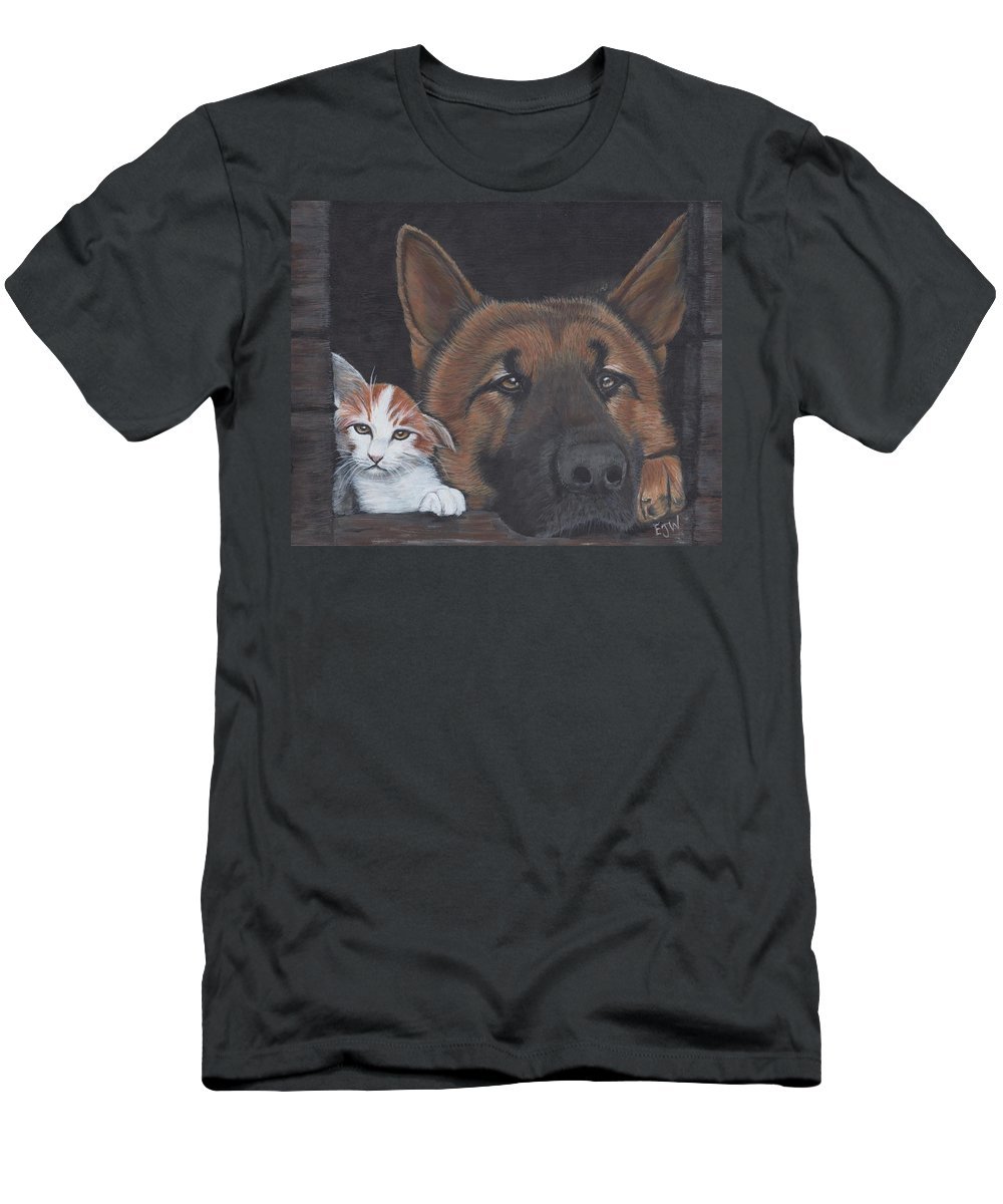 Cat Men's T-Shirt (Athletic Fit) featuring the painting Missing You by Elizabeth Waitinas