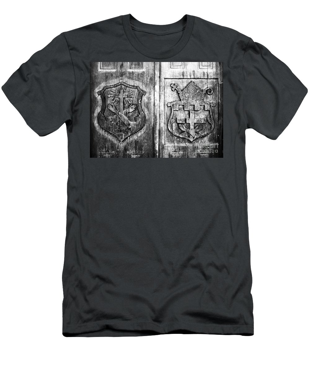 Mission Men's T-Shirt (Athletic Fit) featuring the photograph Mission Doors by David Lee Thompson