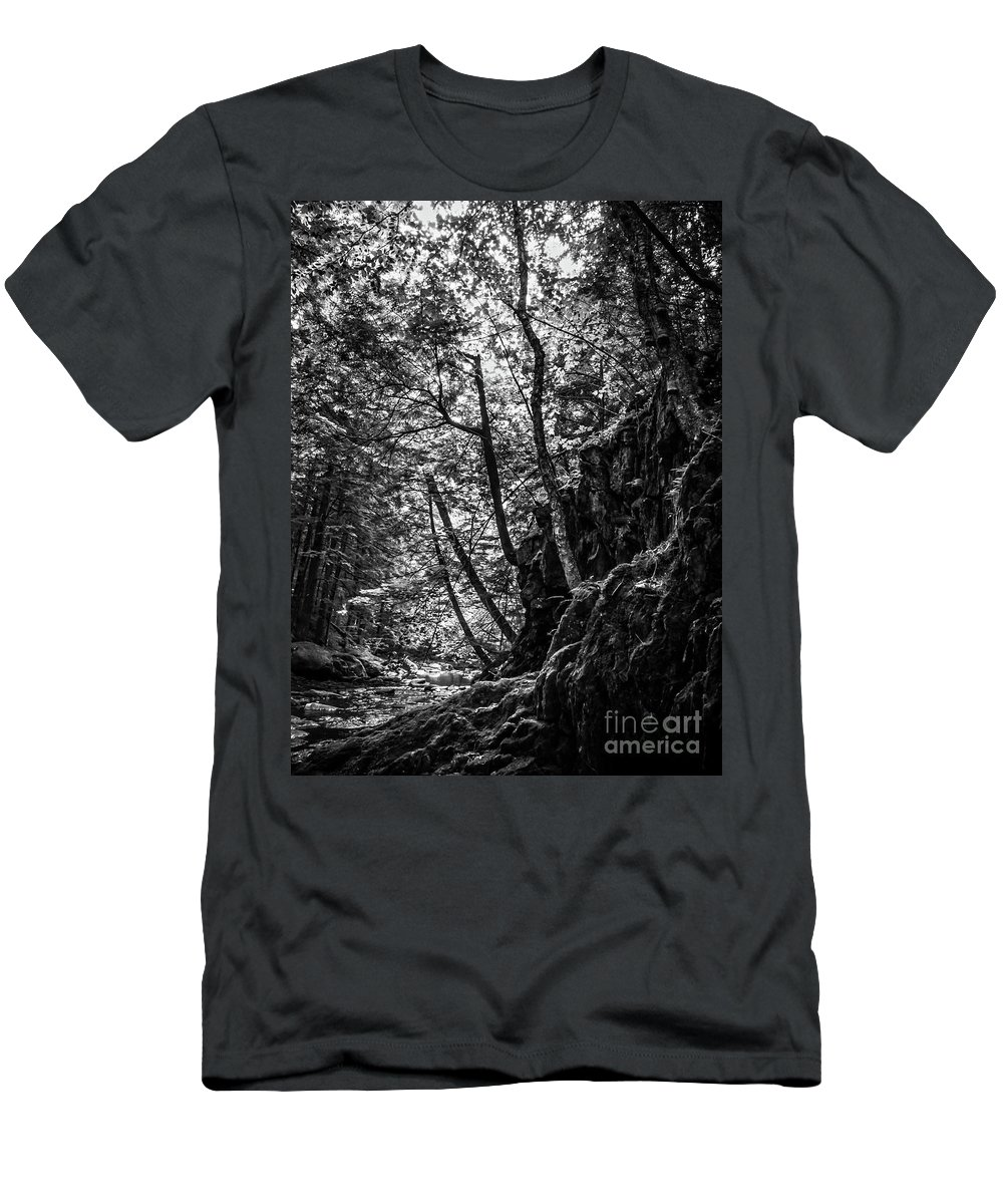 Vermont Men's T-Shirt (Athletic Fit) featuring the photograph Missisquoi River In Vermont - 1 Bw by James Aiken