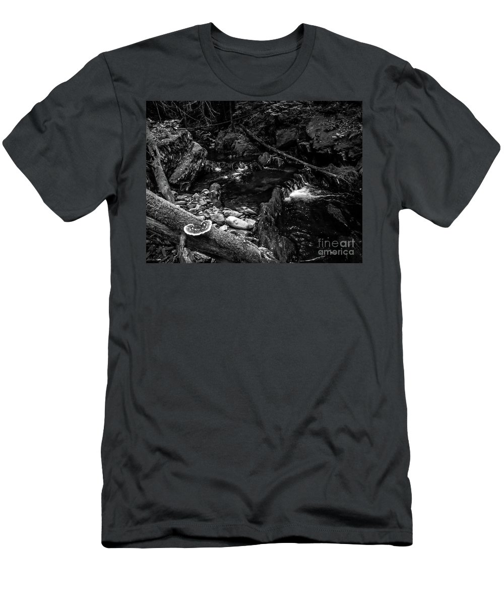 Vermont Men's T-Shirt (Athletic Fit) featuring the photograph Missisquoi River In Vermont - 2 Bw by James Aiken