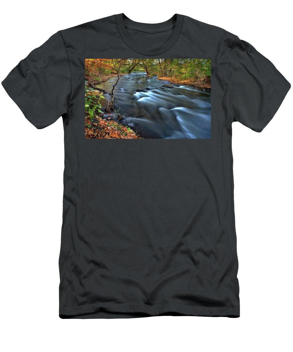 Mississippi Men's T-Shirt (Athletic Fit) featuring the digital art Mississippi River Minneapolis by Mark Duffy