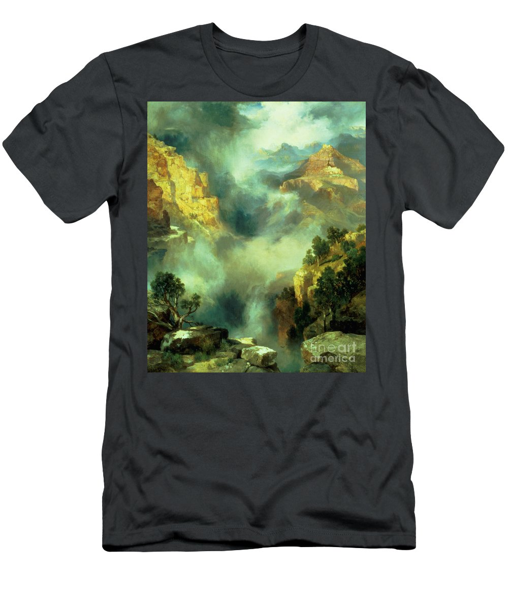 Thomas Men's T-Shirt (Athletic Fit) featuring the painting Mist In The Canyon by Thomas Moran