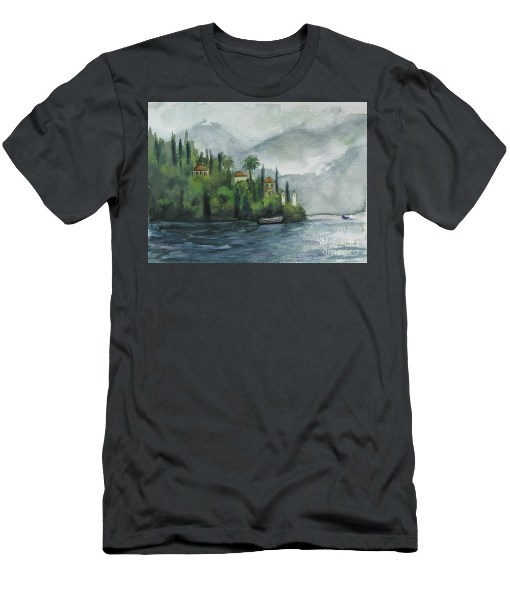 Mist T-Shirt featuring the painting Misty Island by Laurie Morgan