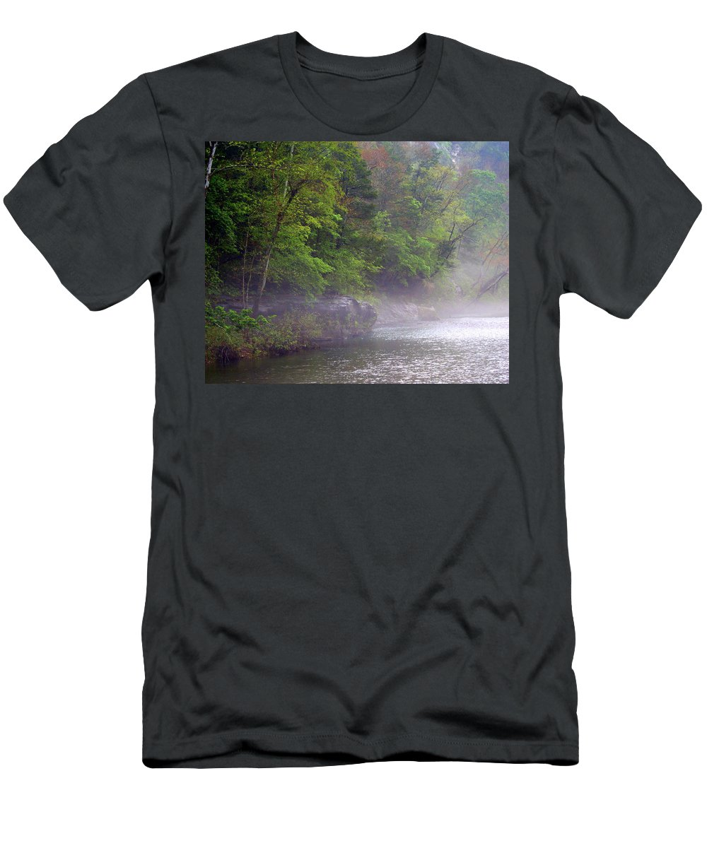 Buffalo National River Men's T-Shirt (Athletic Fit) featuring the photograph Misty Morning On The Buffalo by Marty Koch