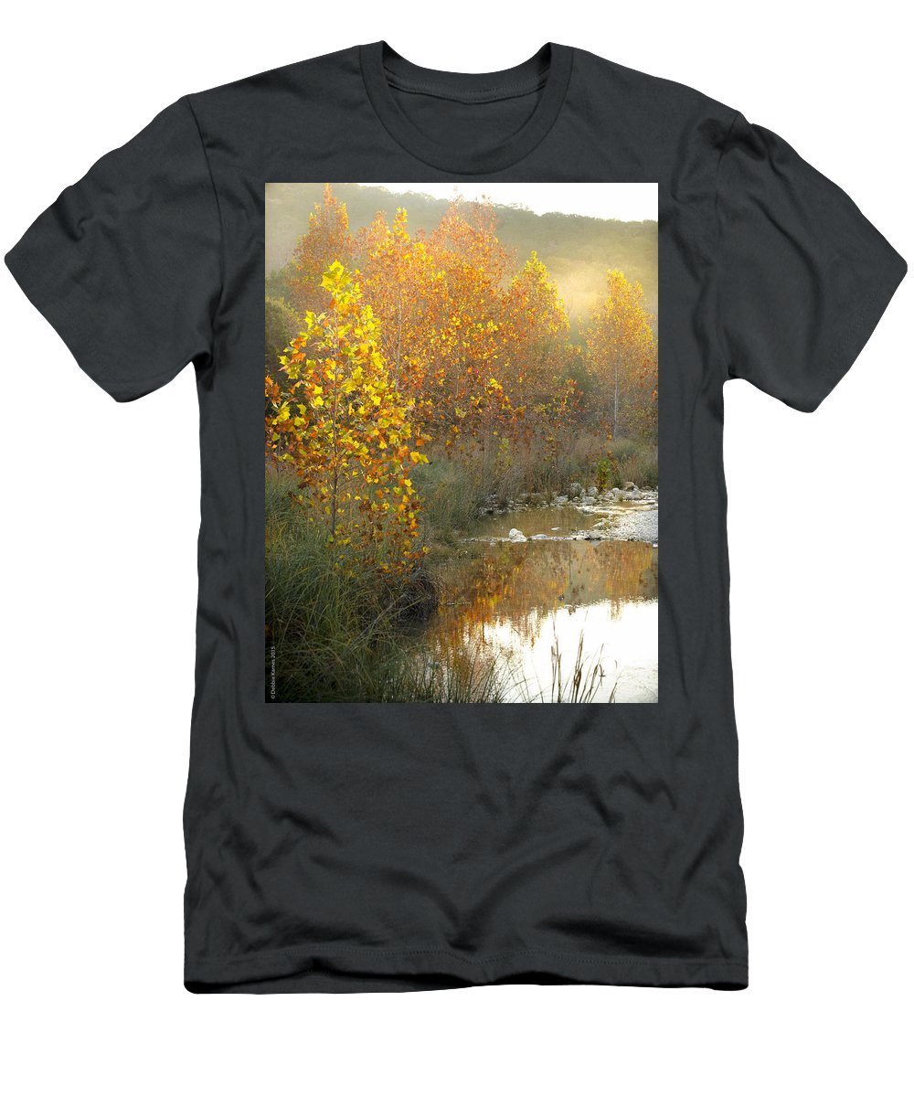 Lost Maples Men's T-Shirt (Athletic Fit) featuring the photograph Misty Sunrise At Lost Maples State Park by Debbie Karnes