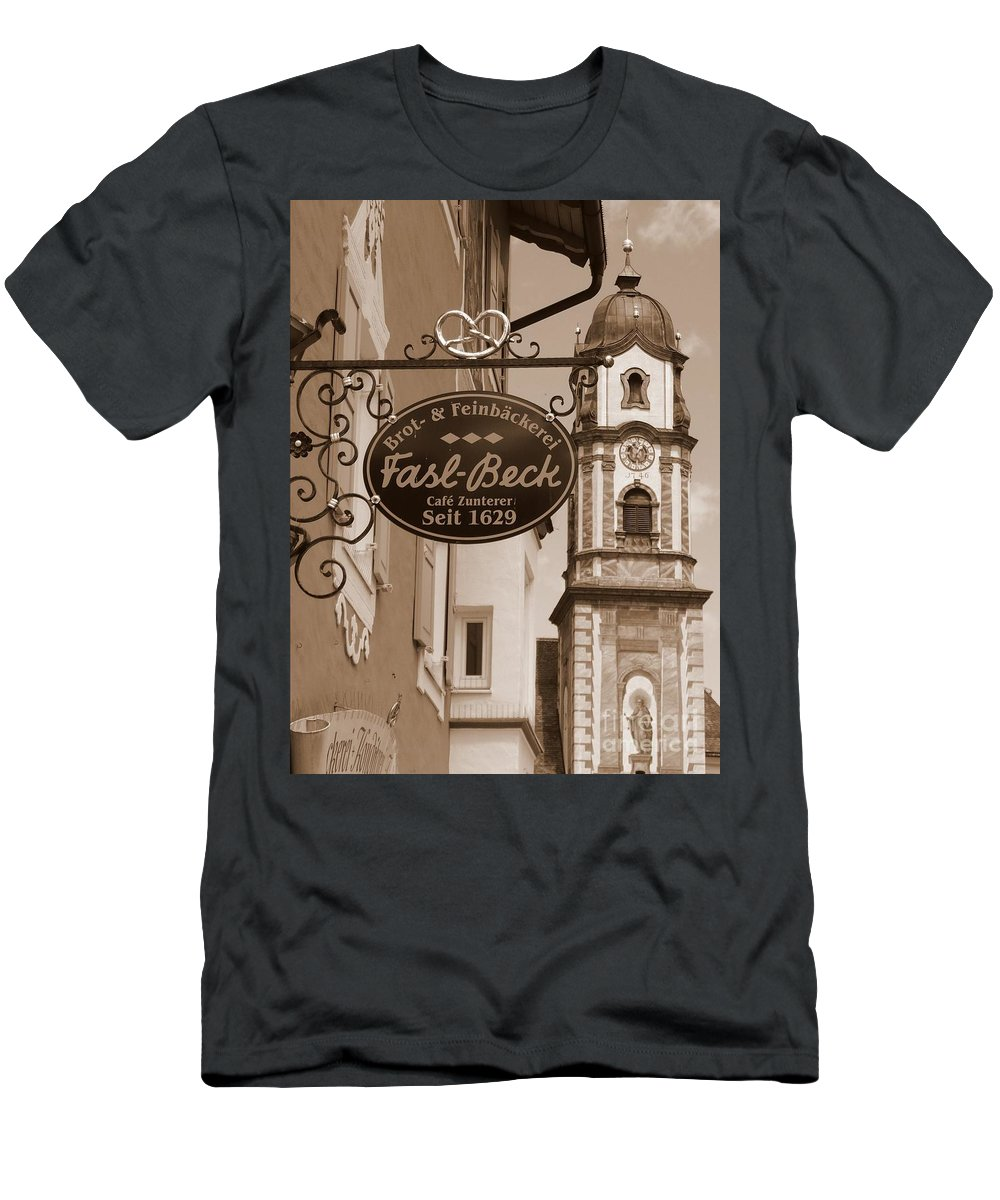 Mittenwald Men's T-Shirt (Athletic Fit) featuring the photograph Mittenwald Cafe Sign In Sepia by Carol Groenen