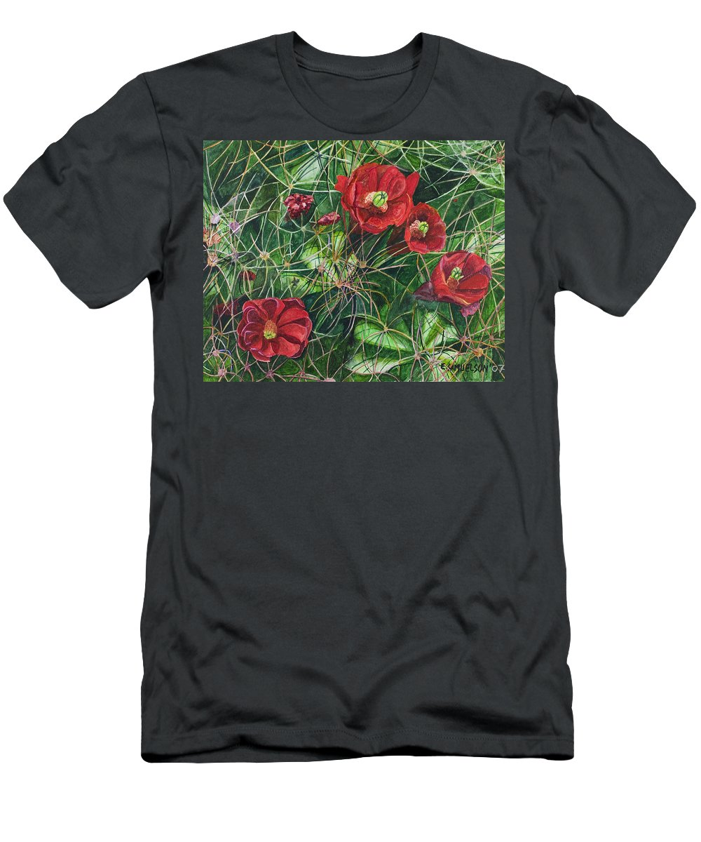 Mohave Men's T-Shirt (Athletic Fit) featuring the painting Mohave Mound Cactus by Eric Samuelson