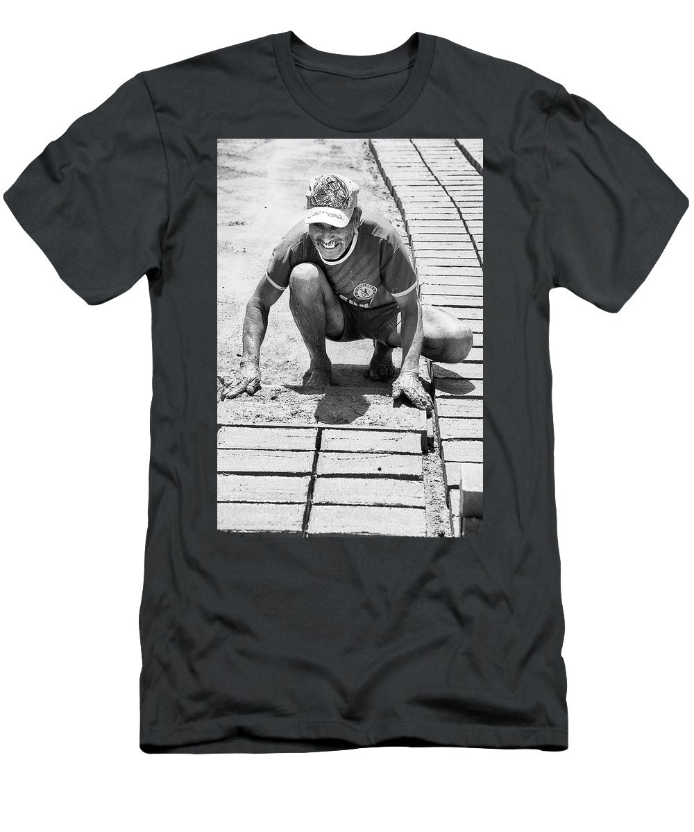 Ladrillero Men's T-Shirt (Athletic Fit) featuring the photograph Molding Bricks by Hugh Smith
