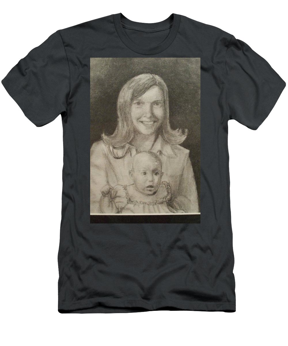 Portrait Men's T-Shirt (Athletic Fit) featuring the drawing Mom And Sister Portrait by Christopher Denham