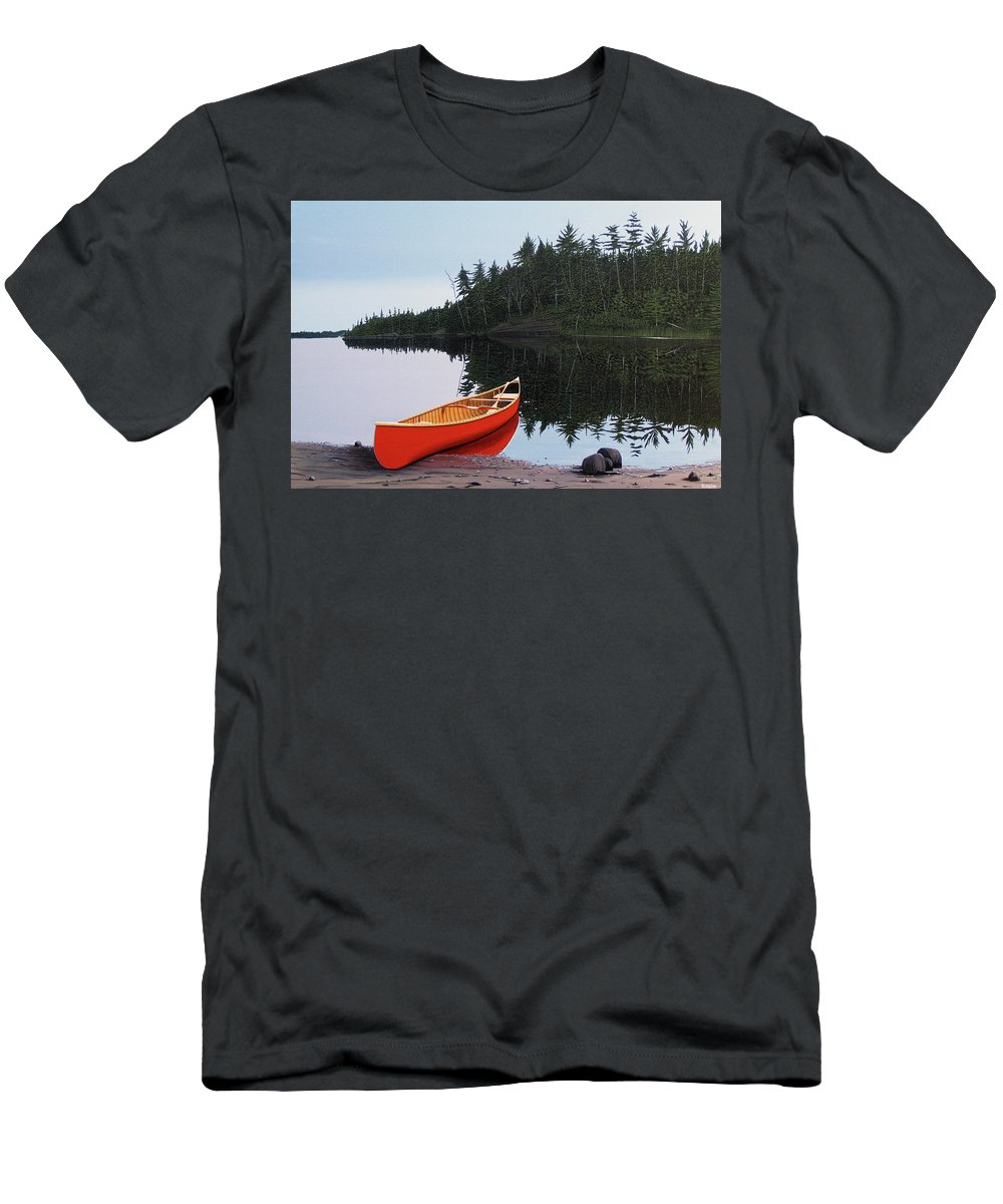 Landscapes Men's T-Shirt (Athletic Fit) featuring the painting Moments Of Peace by Kenneth M Kirsch