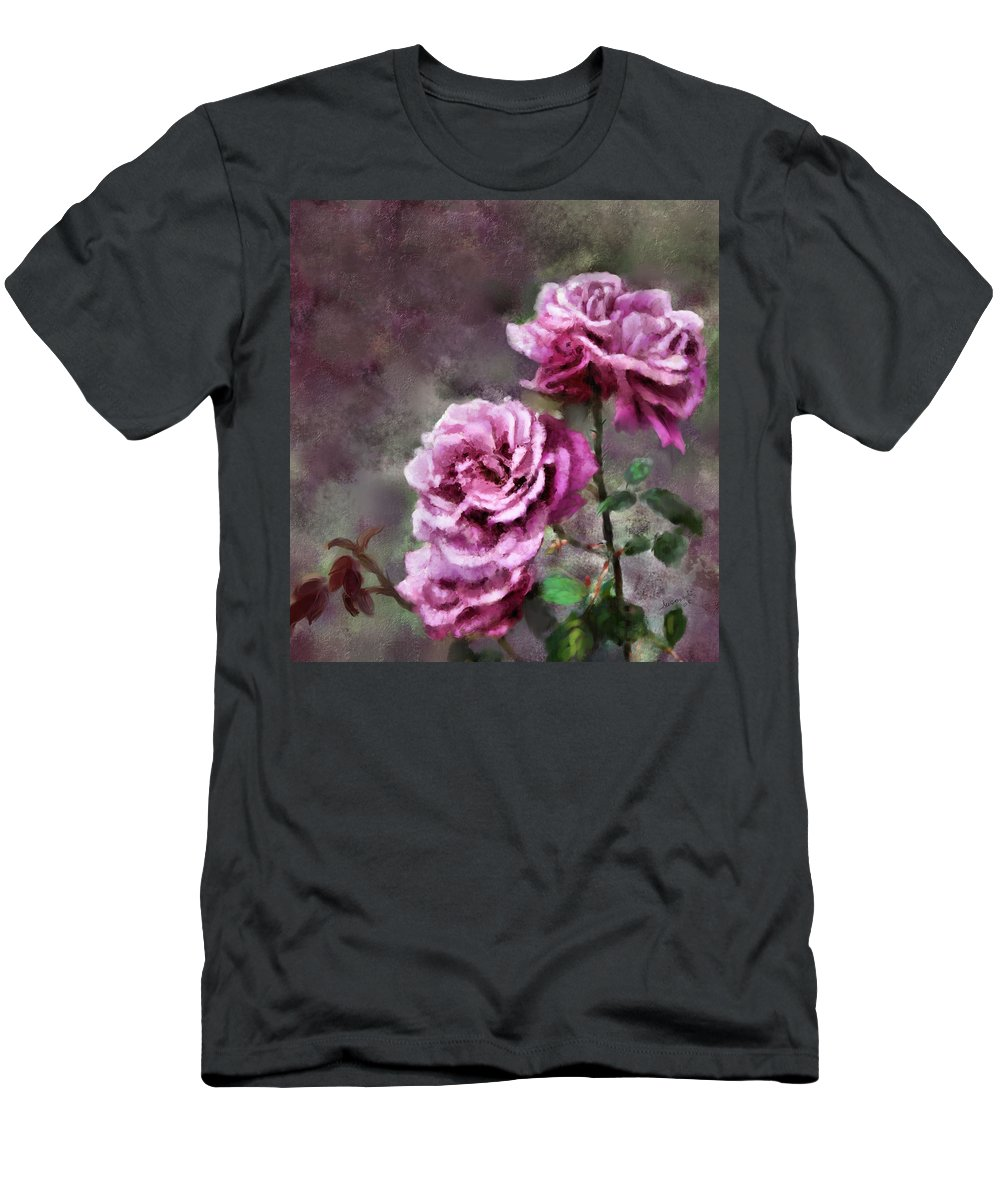 Digital Painting Men's T-Shirt (Athletic Fit) featuring the digital art Moms Roses by Susan Kinney