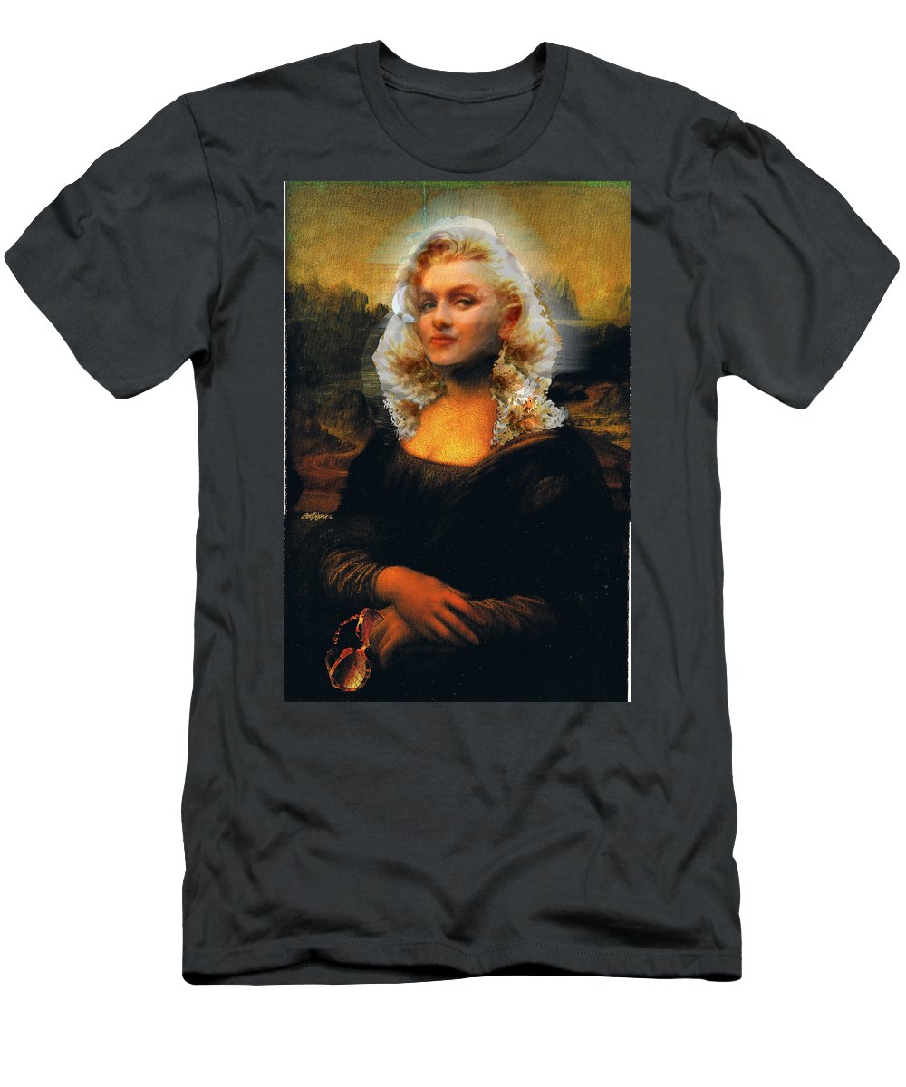 Mona Lisa Men's T-Shirt (Athletic Fit) featuring the digital art Mona Marilyn by Seth Weaver