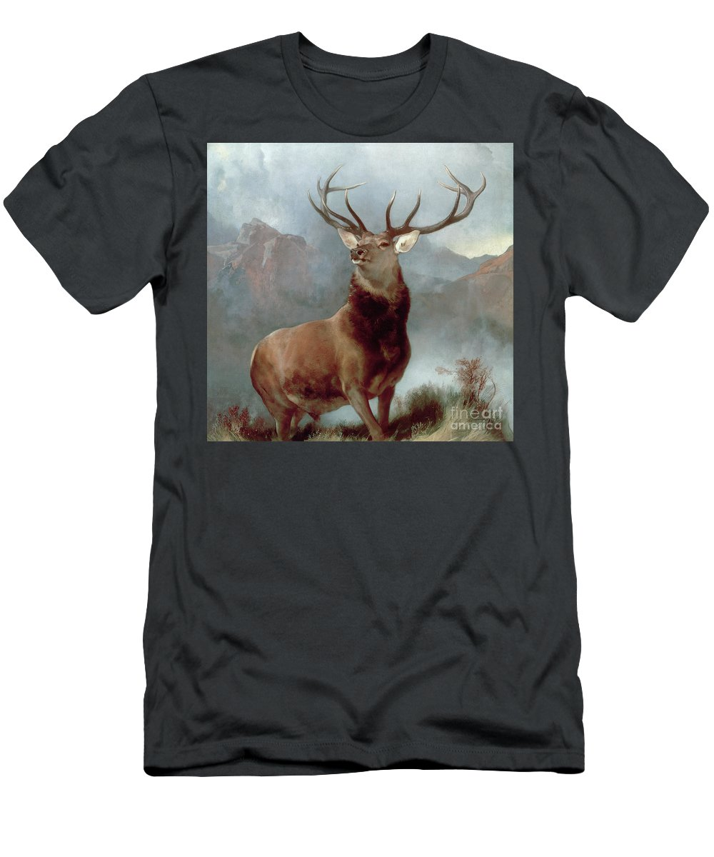 Monarch Men's T-Shirt (Athletic Fit) featuring the painting Monarch Of The Glen by Sir Edwin Landseer