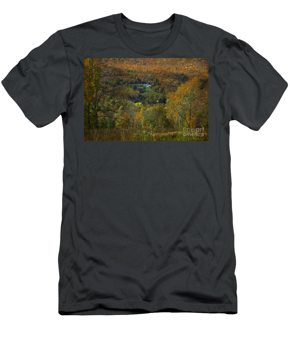 Autumn Men's T-Shirt (Athletic Fit) featuring the photograph Montgomery Hillside Of Color by Deborah Benoit