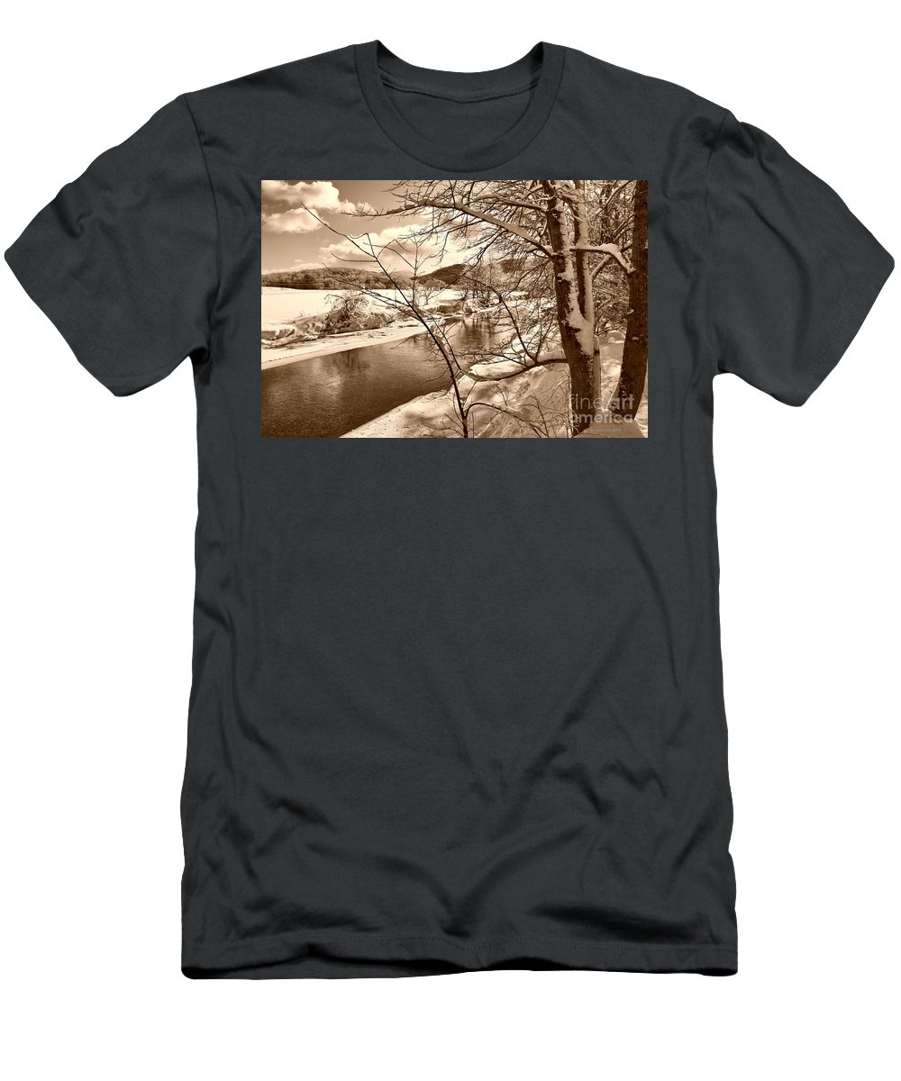 Brook Men's T-Shirt (Athletic Fit) featuring the photograph Mood Of Winter by Deborah Benoit