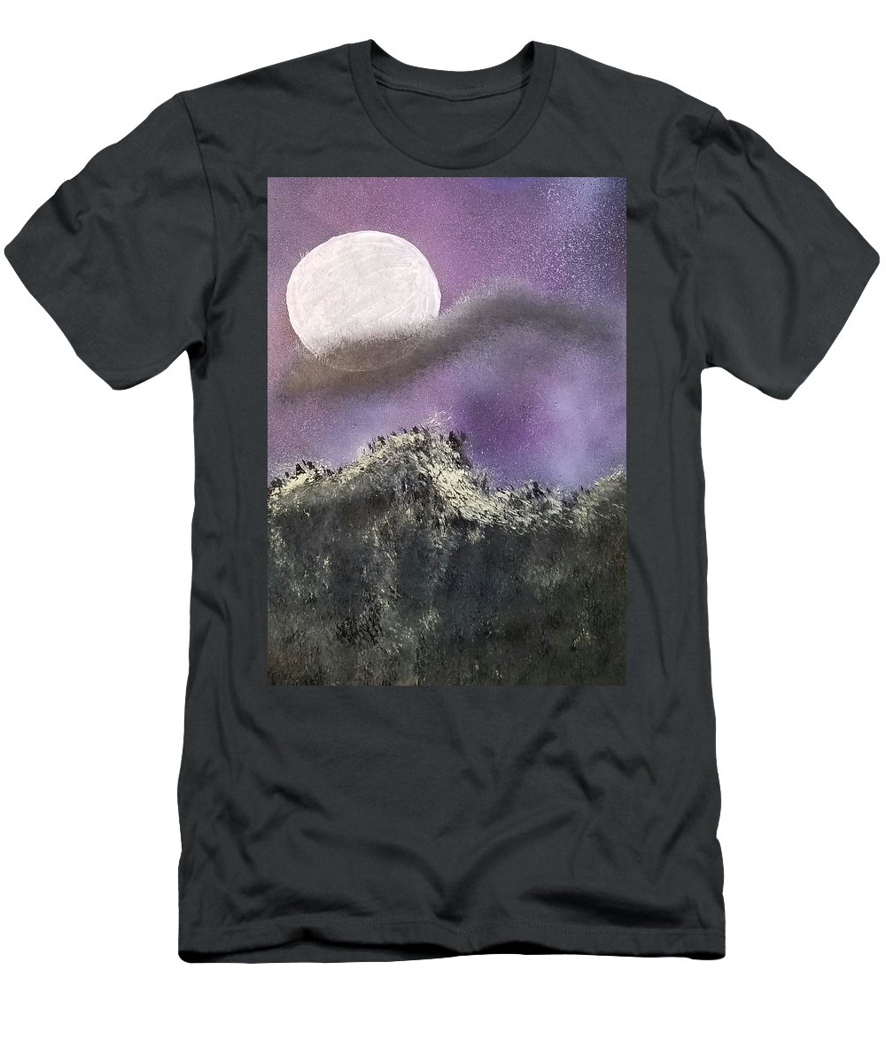 Night Sky Men's T-Shirt (Athletic Fit) featuring the painting Moon Captured by Kristie Ferrick