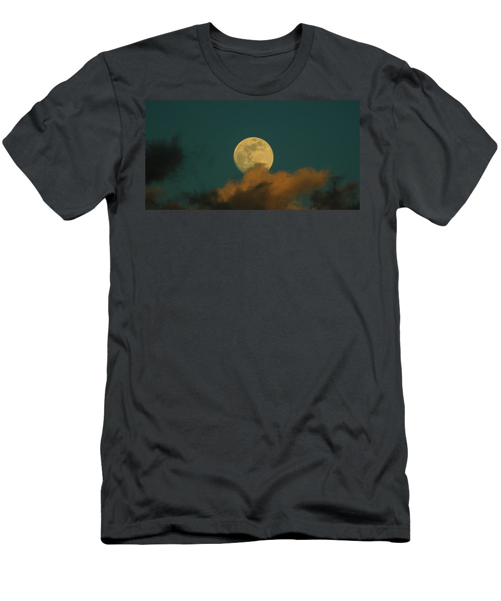 Full Men's T-Shirt (Athletic Fit) featuring the photograph Moon Closeup On Dark Blue Sky, Behind The Clouds by George Tsartsianidis
