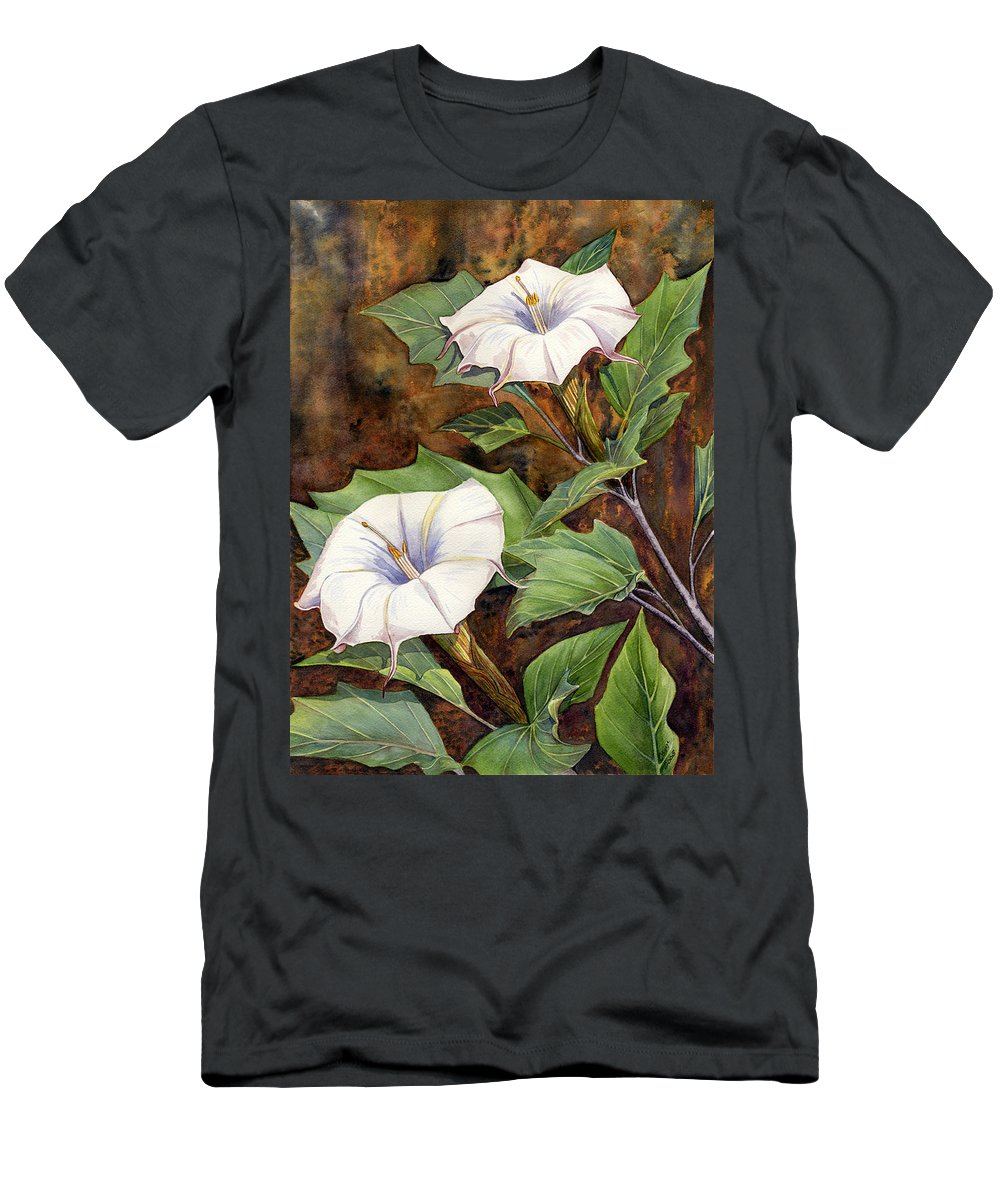Sacred Datura Men's T-Shirt (Athletic Fit) featuring the painting Moon Lilies by Catherine G McElroy