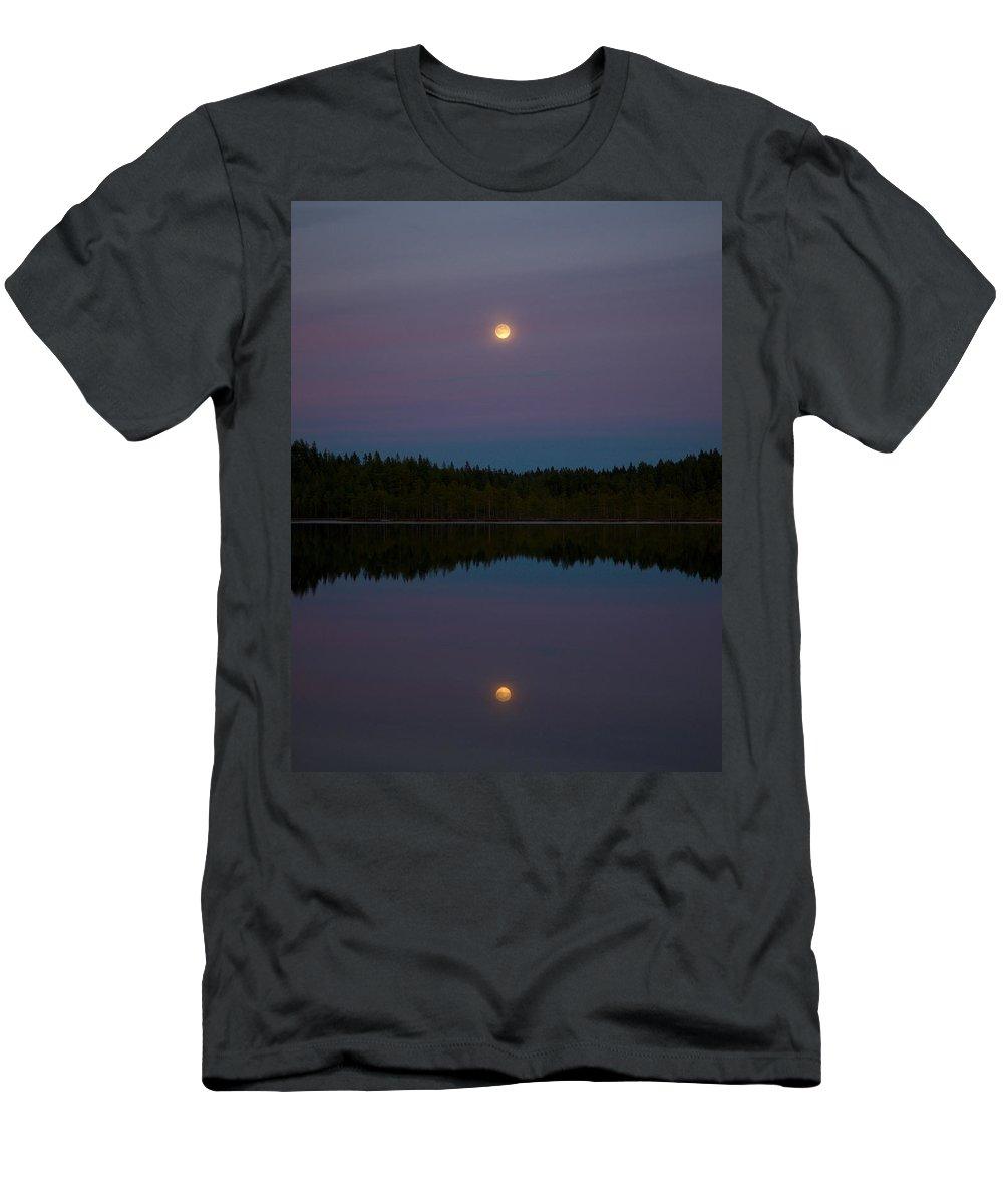 Lehtokukka Men's T-Shirt (Athletic Fit) featuring the photograph Moon Over Kirkas-soljanen 2 by Jouko Lehto