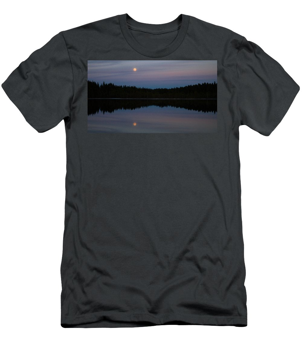 Lehtokukka Men's T-Shirt (Athletic Fit) featuring the photograph Moon Over Kirkas-soljanen by Jouko Lehto