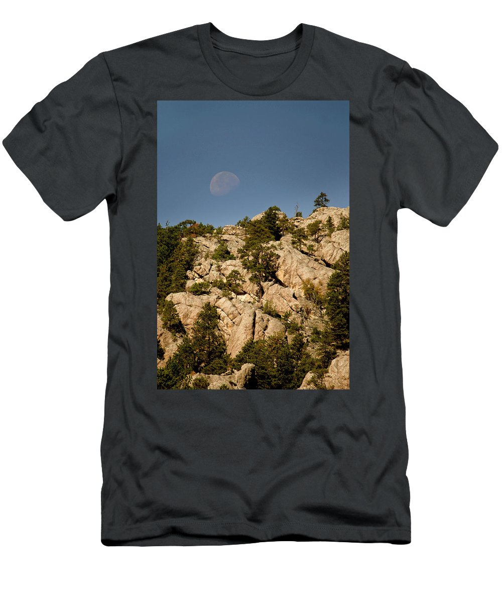 Attraction Men's T-Shirt (Athletic Fit) featuring the photograph Moon Over The Hills by Mike Oistad