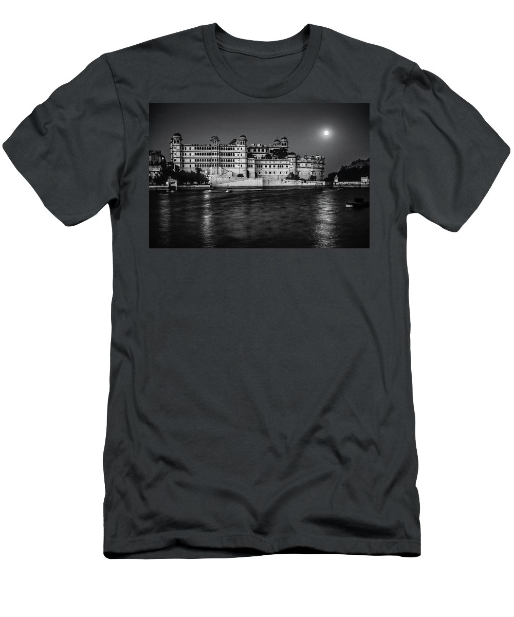 India Men's T-Shirt (Athletic Fit) featuring the photograph Moon Over Udaipur Bw by Steve Harrington