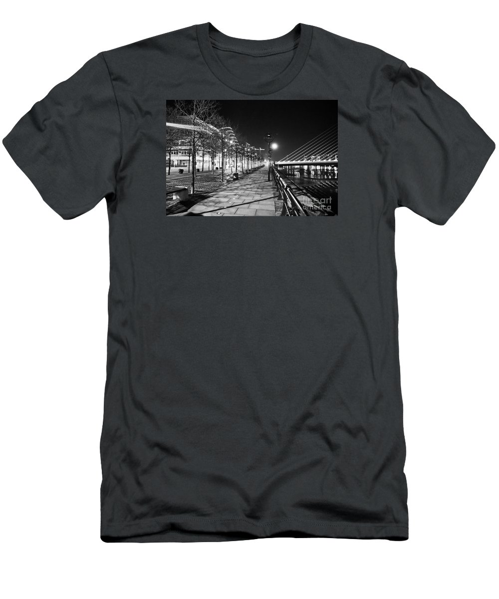 The Convention Centre Reflection Men's T-Shirt (Athletic Fit) featuring the photograph Moon Romance Bw by Alex Art and Photo
