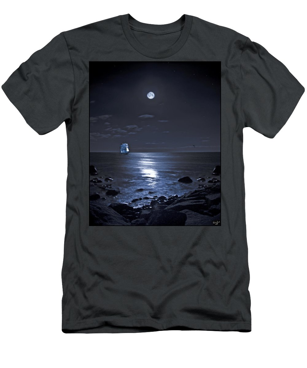 Tall Ship Men's T-Shirt (Athletic Fit) featuring the photograph Moonlight Bay by Chris Lord
