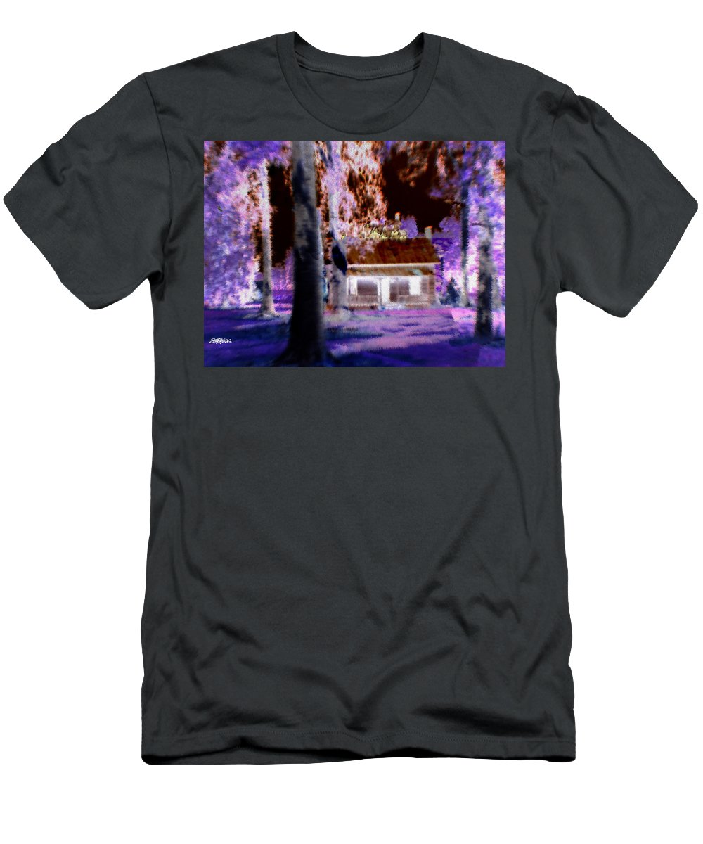 Cabin Men's T-Shirt (Athletic Fit) featuring the digital art Moonlight Cabin by Seth Weaver