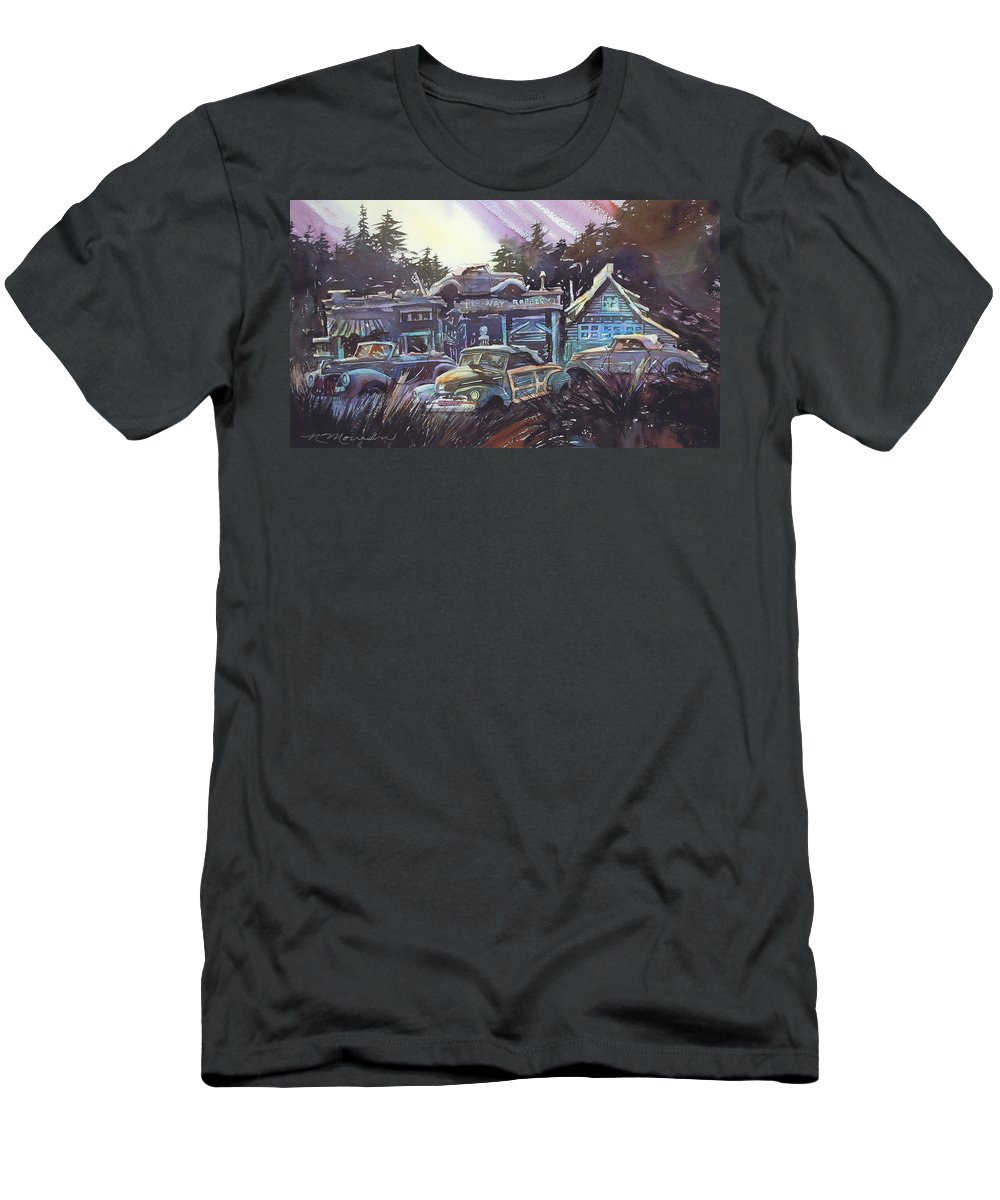 Ford Convertibles T-Shirt featuring the painting Moonlight Cabriolets by Ron Morrison