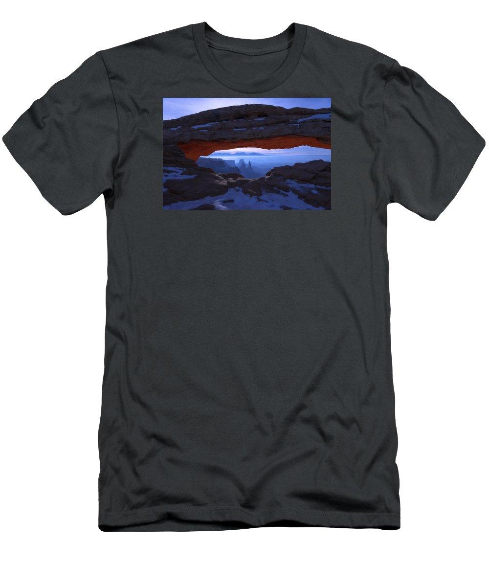 Moonlit Mesa Men's T-Shirt (Athletic Fit) featuring the photograph Moonlit Mesa by Chad Dutson