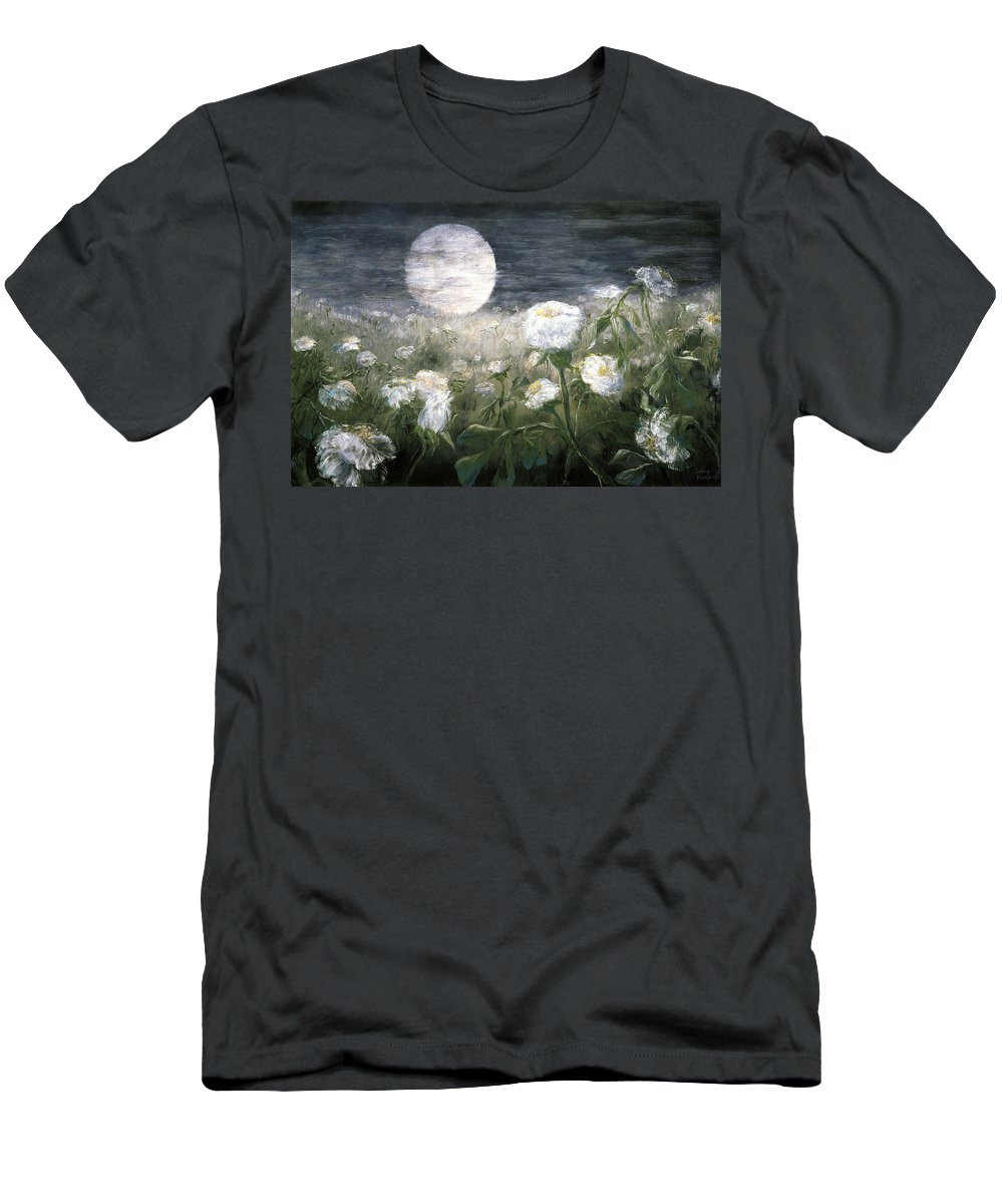 Landscape Men's T-Shirt (Athletic Fit) featuring the painting Moonpoppies by Sunny Franson