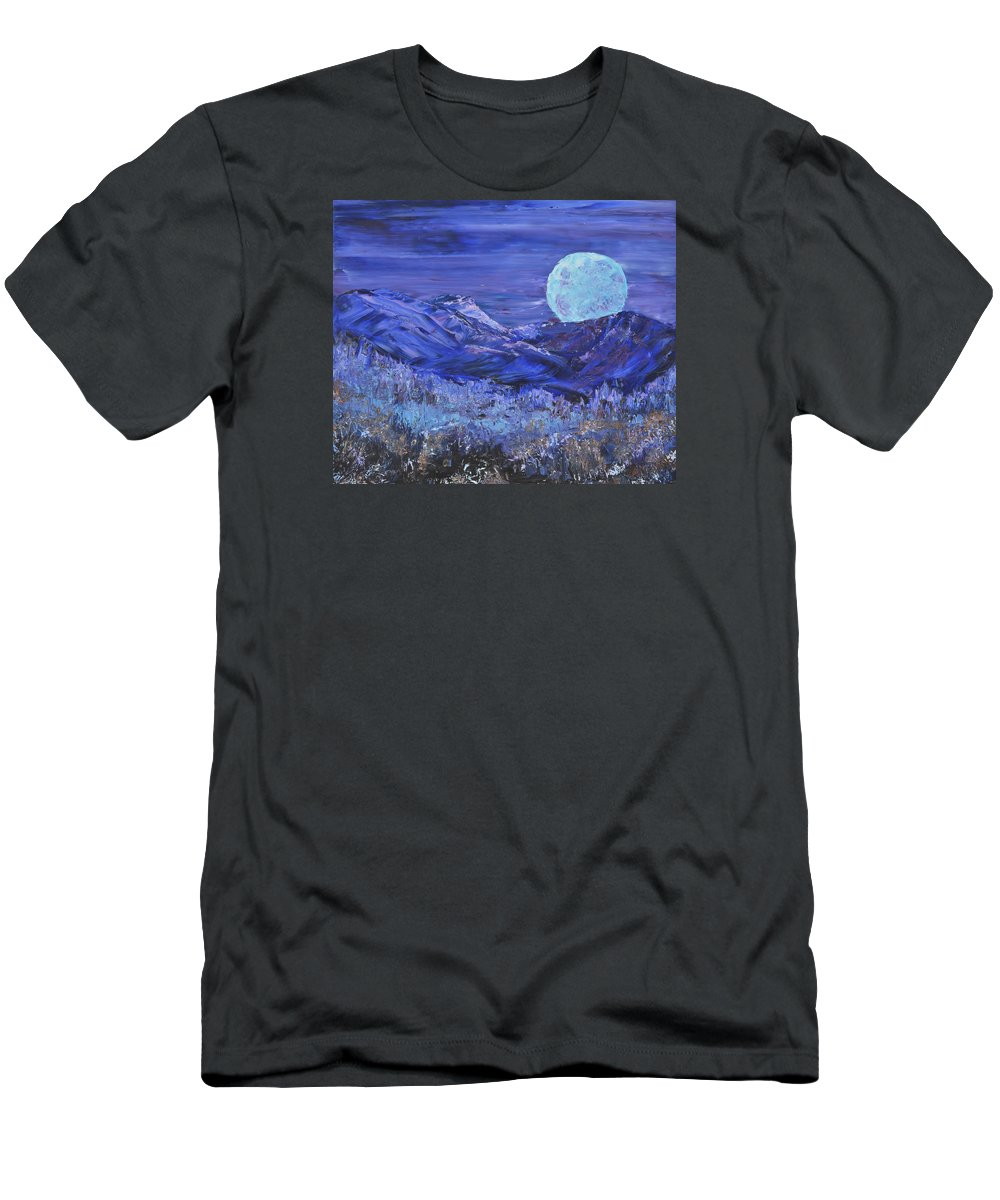 Full Moon Men's T-Shirt (Athletic Fit) featuring the painting Moonrise by Michael LaZar