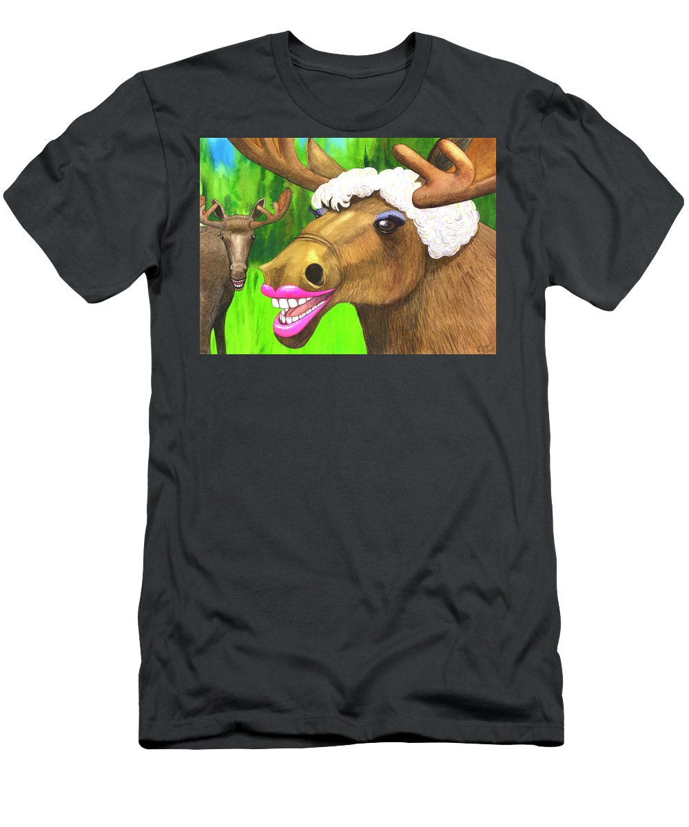 Moose T-Shirt featuring the painting Moose Lips by Catherine G McElroy